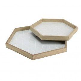 Bandeja hexagonal madera.