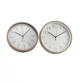 Reloj pared blanco con rayas negras.