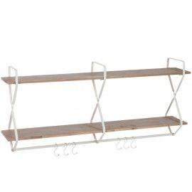 Estantería de pared en madera y metal.