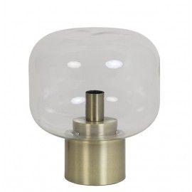 Lámpara de mesa cristal con base dorada.
