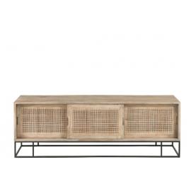 Mueble TV madera de mango y cannage.