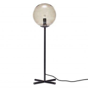 Lámpara de mesa metal negro y cristal.