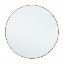 Espejo redondo dorado. ø60 cm.