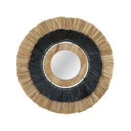 Espejo caña/yute negro/madera