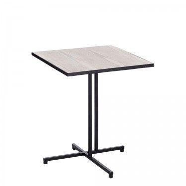 Mesa auxiliar patas negras y sobre de madera natural.