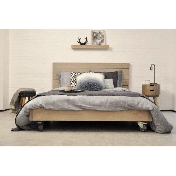 Cabecero tablas de madera natural para cama doble - Cabecero de tablas ...