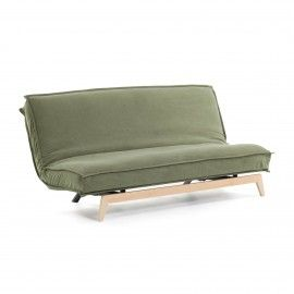 Sofá cama Eveline verde estructura madera