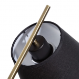Lámpara de mesa negra y dorada.
