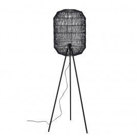 Lámpara de pie en metal negro. D:51x160x50cm.