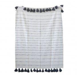Plaid en tono blanco y azul añil de algodón.D:150x130cm.