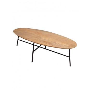 Mesa oval en madera y hierro. 147x59x49 cm.