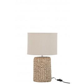 Lámpara de mesa trenzada.
