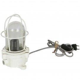 Lámpara farol industrial envejecido blanco.