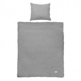 Funda de edredón gris melange y funda de almohada para cama individual.