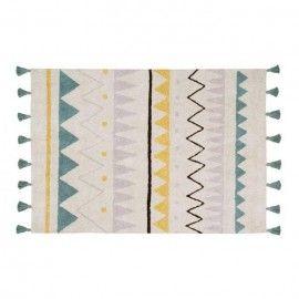 Alfombra con motivos aztecas de colores y borlas. 120 x 160 cm.