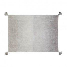 Alfombra degradado gris oscuro-gris claro con borlones. 120 x 160 cm.