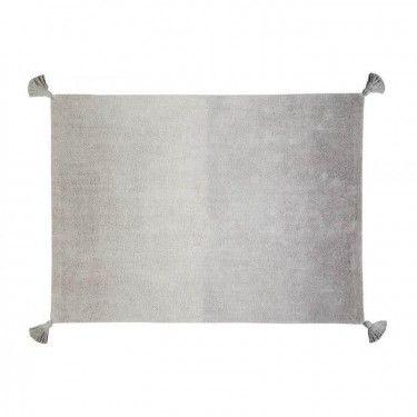 Alfombra degradado gris oscuro-gris claro con borlones.