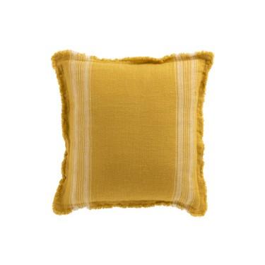 Cojín lino amarillo con rayas 45x45cm