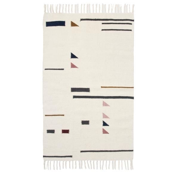 Alfombra blanca motivos geom tricos colores y flecos en for Alfombras motivos geometricos