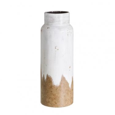 Jarrón blanco rozado 17x17x47,50cm