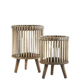 Farol de bambú natural. Varios tamaños.