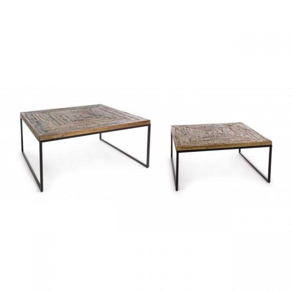 Mesa centro cuadrada tablero madera envejecida y - Patas metalicas para mesas ...