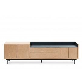 MUEBLE TV VALLEY 3P2C ROBLE BANDEJA/PIES AZUL OSCURO 180 X 40 X 50 CM