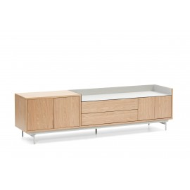 MUEBLE TV VALLEY 3P2C ROBLE BANDEJA/PIES GRIS CLARO 180 X 40 X 50 CM