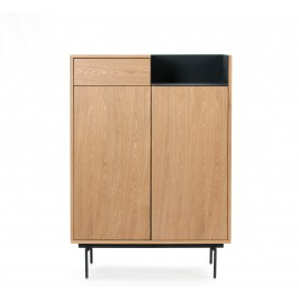 MUEBLE AUXILIAR VALLEY 2P1C ROBLE BANDEJA/PIES AZUL OSCURO 92 X 40 X 130 CM