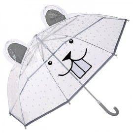 Paraguas transparente carita castor.
