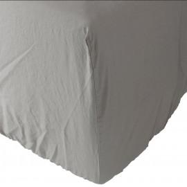 Sábana bajera Son de algodón lavado a la piedra Gris piedra. Varios tamaños.
