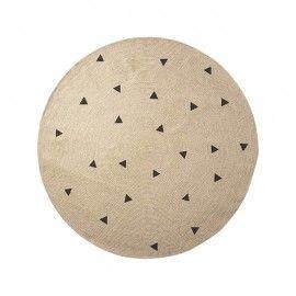 Alfombra redonda de yute con triángulos negros. 130(d) cm.