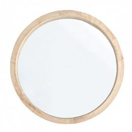 Espejo redondo con marco de madera (Paulonia).