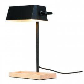 Lámpara de mesa negra con bandeja de madera.