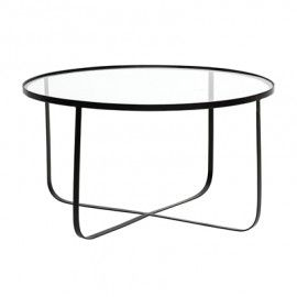 Mesa de centro en metal con sobre de vidrio.