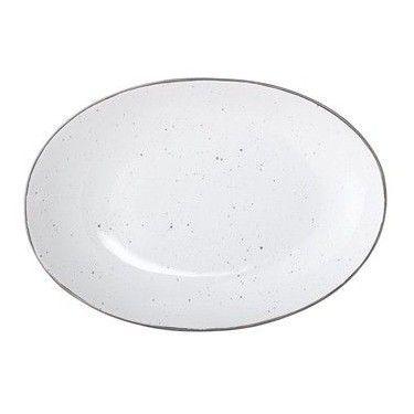 Bandeja de ceramica blanca y filo plateado