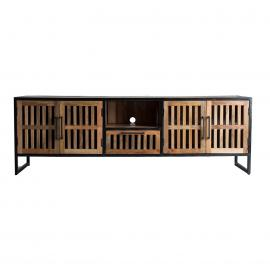 MUEBLE TV EN COLOR NEGRO/NATURAL ENVEJECIDO, DE ESTILO COLONIAL 200 X 45 X 65 CM
