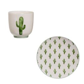 Plato + taza cactus