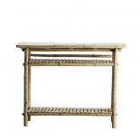 Consola bambú con baldas. 90x37x76cm