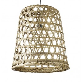 Lámpara de bambú trenzada natural. 40x40cm