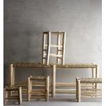 Banco trenzado de madera natural. 140x40x50cm