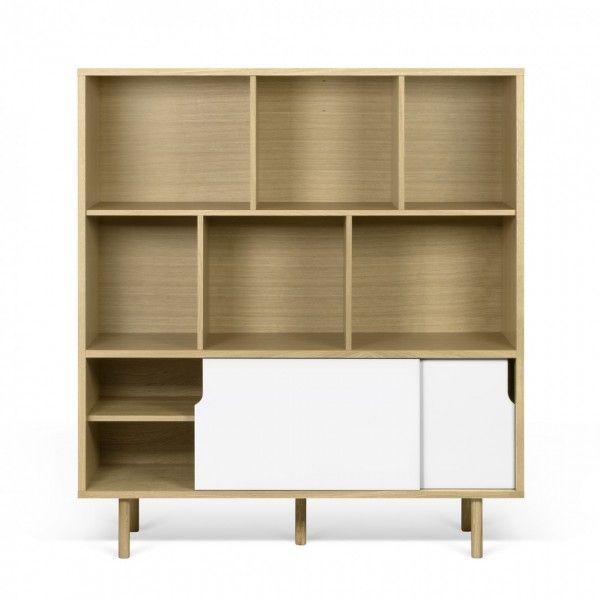Aparador alto estanter a y puertas blancas madera de - Estanterias con puertas correderas ...