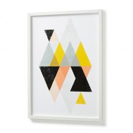 Cuadro motivos geométricos de colores con marco blanco.
