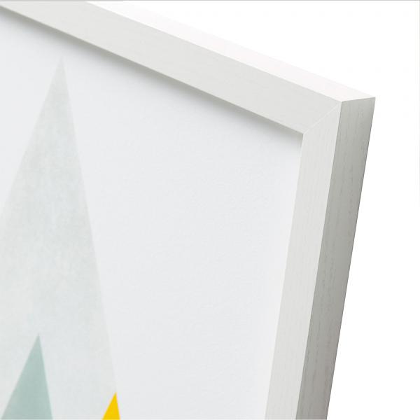 Lámina impresa diseño geométrico de colores y marco de madera blanco