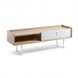 Mueble TV chapa roble con puerta corredera blanca y patas metálicas.