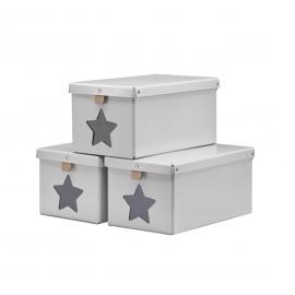 Caja gris con estrella transparente frontal.