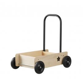 Carrito-andador de madera y negro.