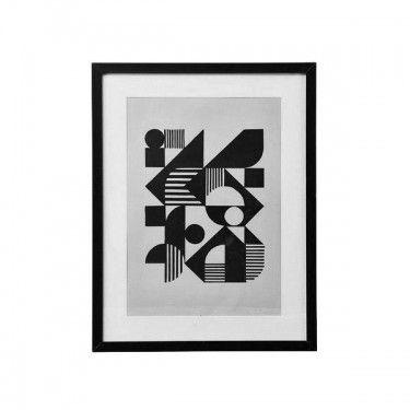 Marco negro con lámina ilustración abstracta.