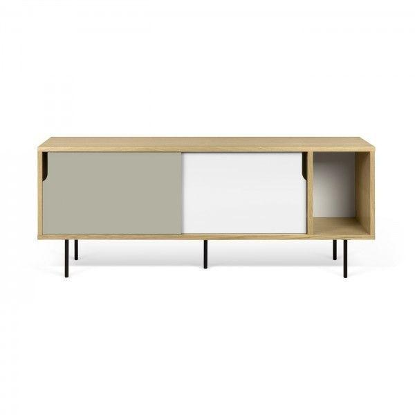 Mueble tv madera de roble puertas en blanco y gris y for Mueble gris y blanco