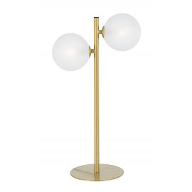 Lámpara de mesa de dos luces en dorado.